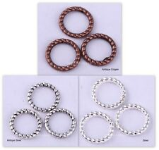 200pcs Tibetan Silver Twist Ring Beads Charms Connectors 8mm 5 colors to Choose