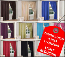 Pair THERMAL Lined LIGHT REDUCING Plain Curtains in 11 Colours & 4 Sizes