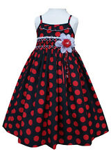 New Adorable Black and Red Polka Dot Girls Smocked Dress Boutique Design 17583