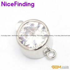 White Gold Plated Crystal Clasp 12.5mm Jewelry Making Design Findings GP0262
