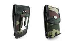 Camo Rugged Heavy Duty Canvas Clip Belt Case Pouch for Cell Phones Smartphones