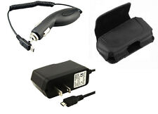 AC DC Travel Home Wall + Car Charger + Leather Case Pouch for MetroPCS Phones