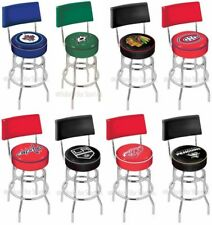 Choose Your NHL Team L7C4 Chrome Double-Ring Swivel Bar Stool w/ Seat Back
