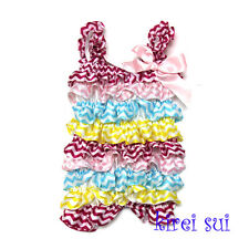 Baby Girls Yellow Hot Pink Blue Chevron Satin Petti Romper Strap Bow NB-3Y