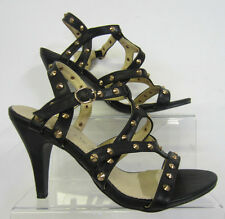 F10089-Ladies Spot On Heeled Black Sandals, With Studded Detail.