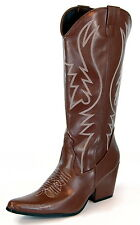 Womens Cowgirl Costume Western Rodeo Brown Cowboy Boots