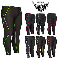 EMFRAA mens womens skin compression gear tights pants 3/4 length pants S~2XL