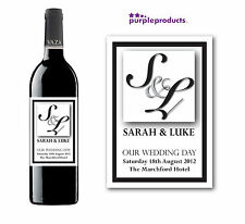 PERSONALISED BRIDE AND GROOM WEDDING DAY PARTY WINE BOTTLE LABEL - DESIGN 2