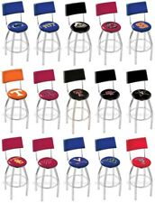 Choose Your NCAA P-Z Team L8C4 Chrome Single-Ring Swivel Bar Stool w/ Seat Back