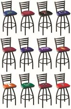 Choose Your NCAA P-Z Team L014 Black Single-Ring Swivel Bar Stool w/ Ladder Back