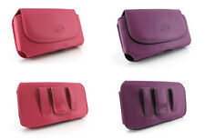 Leather Case Purse Clip Pouch Holster for Cell Phones in Pink and Purple Colors