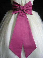 BEGONIA SATIN TIE BOW SASH FOR WEDDING FLOWER GIRL DRESS S M L 2 4 6 8 10 12