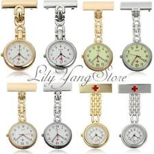 Unisex Stainless Steel Medical Doctor Nurse Cross Brooch Fob Quartz Pocket Watch