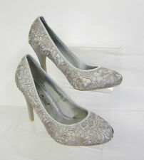 Ladies Lace Effect Courts Shoes Heels Occasion Silver Anne Michelle L2979