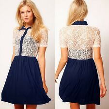 Trendy Womens Short Sleeve Lace Splicing Buttons Shirt Mini Dress Princess 6630