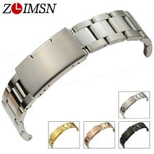 Watch Band Strap Solid Stainless Steel Bracelet Silver Rose Gold Black Plated