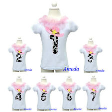 1st - 7th Birthday Pink Hat Cowgirl Party White Short Sleeves Top 1-7Y