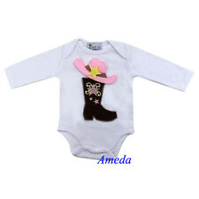 Cowgirl Brown Boots Pink Hat White Long Sleeves Bodysuit Romper 0-12M