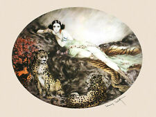 Icart Fashion Lady Jaguars Cats Vintage Poster Reproduction FREE SHIPPING