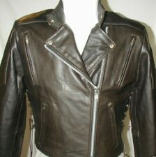 New Womens Retro Brown Premium Leather Vented Motorcycle biker Petite Jacket