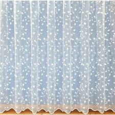 White Lace Net Curtains Floral Scalloped Border 3988 - ALL SIZES