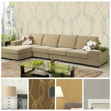 10M Maryland Style Embossed Abstract Line Wallpaper Rolls,5 colors,Living RoomTV