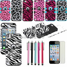 Pen + Hybrid High Impact Hard & Soft Rubber Case Cover For iPod Touch 5 5th Gen