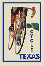 Riding Bicycle Bike Cycles Texas Sport Travel Vintage Poster Repro FREE S/H