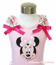 Light Pink Tank Top Pettitop Pink Minnie Floral Rose Ruffles Hot Pink Bow NB-10Y