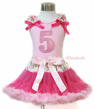 Pink Sparkle 5TH Birthday Top Ruffle Hot Pink Bow Rose Hot Light Pink Skirt 1-8Y