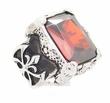 Men's Dragon Claw Ruby Red CZ Stainless Steel Ring US Size 8,9,10,11,12,13,