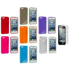 For iPhone 5 5G TPU Transparent S-Line Rubber Case Cover+Screen Protector
