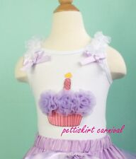 Lavender Birthday Cupcake Whte Tank Top Tee Shirt for Tutu Pettiskirt 3M-10Y