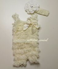 Newborn Baby Girls Cream Lace Petti Rompers Straps Peony Headband 3pc Set