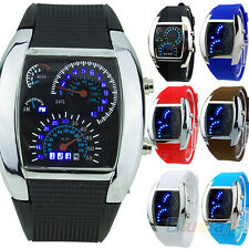 Men Turbo Blue Flash Digital LED Sports Car Meter Dial Watch Wristwatch BC1U New