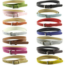 Fashion Ladies Multi Color Thin Skinny Faux Leather Belt Waistband Womens Strap