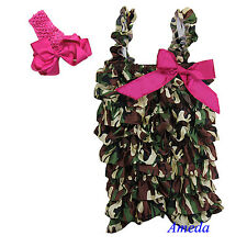 Baby Girls Green Camo Hot Pink Bow Satin Petti Romper Rompers Headband NB-5Y