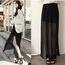 Retro Lady Chiffon Sheer High Side Split Maxi See Through Long Skirt Top Design
