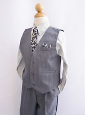 Black silver gray toddler teen boy's vest with tie tuxedo formal suit party set