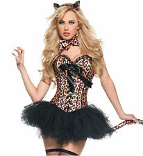 Leopard print corset skirt tail sets cotume showgirl clubwear lace up boned S-2X