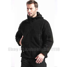 Mens Tactical Hooded Fleece Jacket Mens Classic Casual Outdoor Jacket Warm Coats