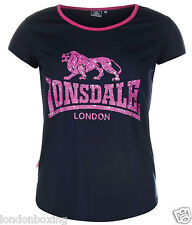 Lonsdale T-shirt Ladies Navy Purple Crew Neck Short Sleeve Size 8 10 12 14 16 18
