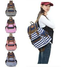 Fashion Women Backpack Canvas Stripe Leisure Bags School Bag Red Stripe 5 Colors