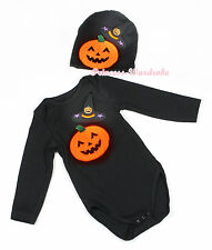 Halloween Black Witch Hat Pumpkin Baby Jumpsuit Long Short Sleeve NB-12Month