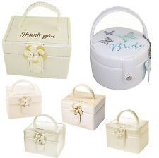 WEDDING Embroidered Jewellery Box with Mirror Inside - Thank You Keepsake Gift