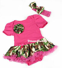 Toddler Hot Pink Bodysuit Jumpsuit Camouflage Camo Rose & Girl Baby Dress NB-12M
