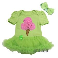 Baby Pink Ice Cream Cone Lime Green Bodysuit Jumpsuit Pettiskirt Tutu Bow 0-18M