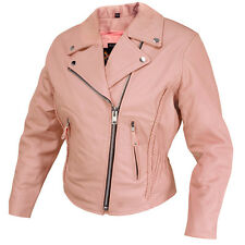 Womens New Dusty Rose Pink Leather Motorcycle Biker Jacket Z/O lining Retail$219