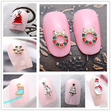 Fashion 10 Pcs Cute 3D Alloy Rhinestone Christmas Nail Art Tips DIY Decoration