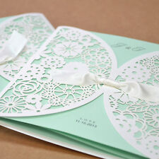 1 sample Kit Set Luxury Laser Cut Satin Ribbon Wedding Cards Invitation BH2065